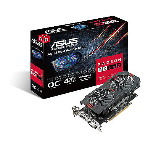 Asus AMD Radeon RX 560 OC 4GB GDDR5 HDMI/DP/DVI Grafikkarte | 4712900704846