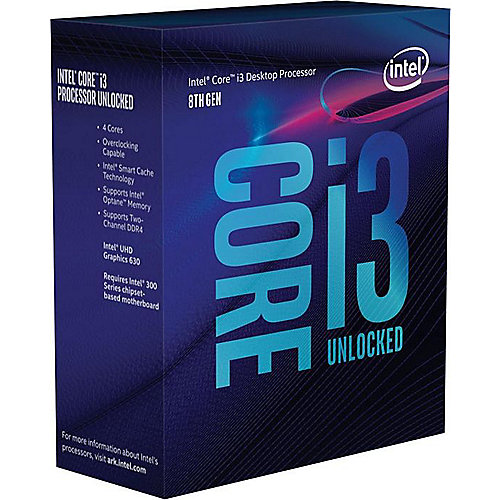 Intel Core i3-8300 4x3,7 (Boost ) GHz 6MB-L3 Cache Sockel 1151 (Coffee Lake)