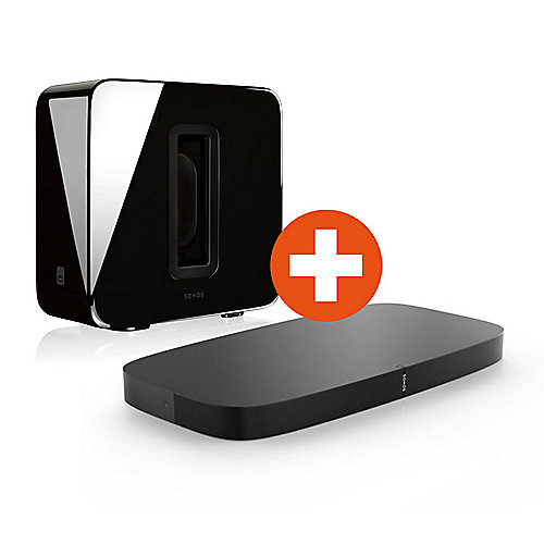 Set: Sonos PLAYBASE + SUB schwarz wireless Multiroom Soundbase und Sub