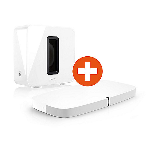 Set: Sonos PLAYBASE + SUB weiß wireless Multiroom Soundbase und Sub