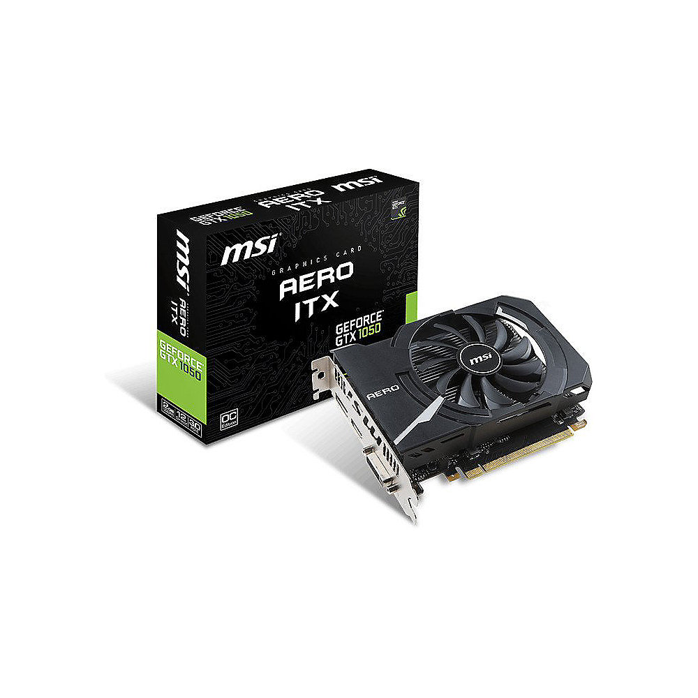 MSI GeForce GTX 1050 AERO ITX 2G OC 2GB GDDR5 DVI/HDMI/DP Grafikkarte