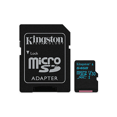 Kingston Canvas Go! 64 GB microSDXC Speicherkarte Kit (45 MB/s, Class 10, UHS-I)   0740617274769