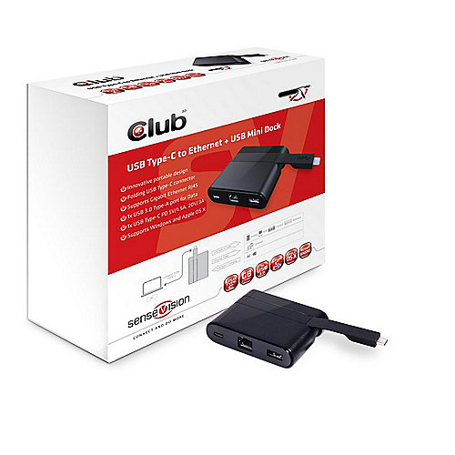 Club 3D USB 3.0 Typ-C auf Ethernet + USB 3.0 + USB Typ-C Mini Dock CSV-1530 | 8719214470470