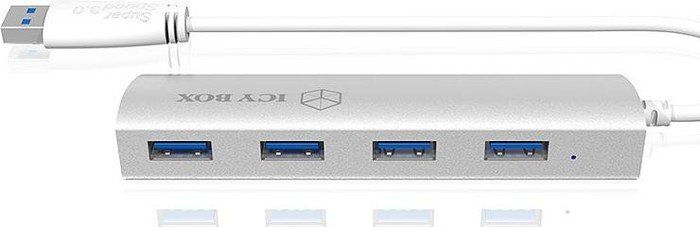 RaidSonic Icy Box IB-AC6401 4-Port USB 3.0 Hub silber