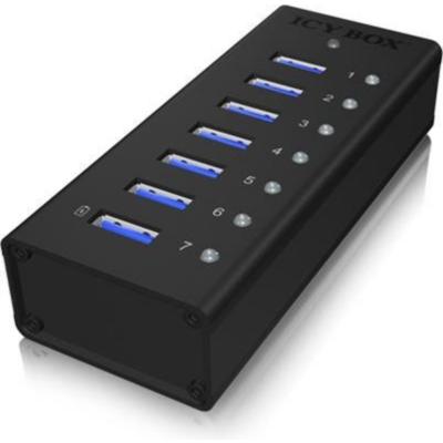 RaidSonic  Icy Box IB-AC618 7 Port USB 3.0 Hub inkl. 1x USB Ladeport | 4250078160182