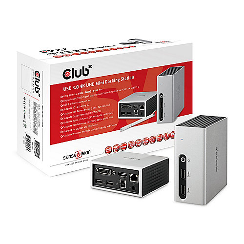 Club 3D USB 3.0 4K UHD Mini Docking Station CSV-3104D | 8717249401261