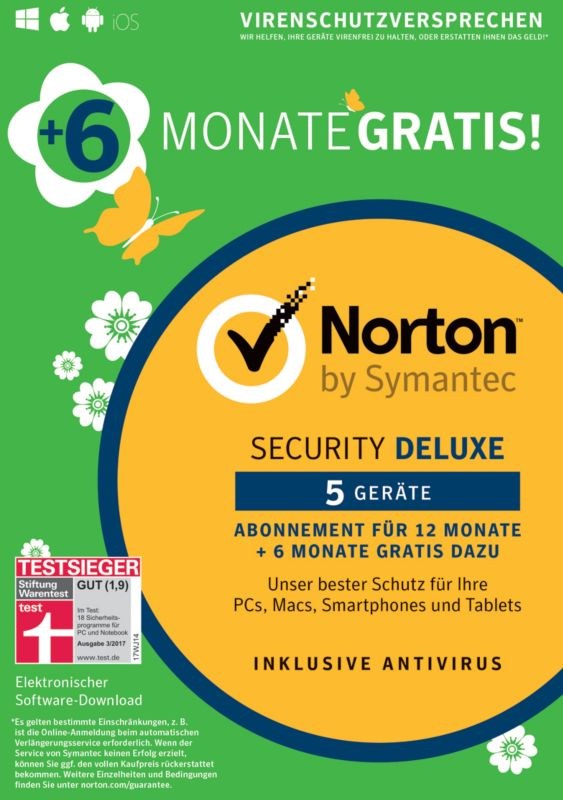 Symantec Norton Security 3.0 5Geräte Deluxe 12 + 6 Monate gratis CardCase