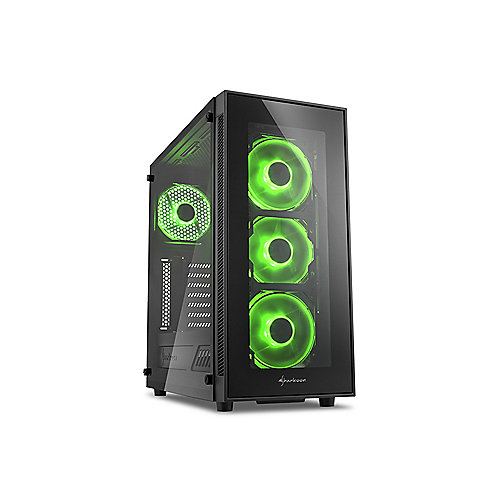 Sharkoon TG5 Midi-Tower ATX Gaming Gehäuse Grüne LED, Seitenfenster