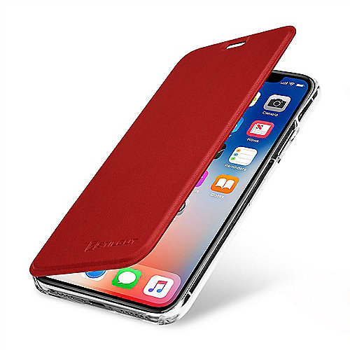 StilGut Book Type mit NFC/RFID Blocker für Apple iPhone X, rot/transparent