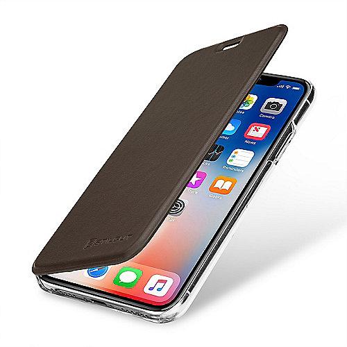 StilGut Book Type mit NFC RFID Blocker für Apple iPhone X, braun transparent