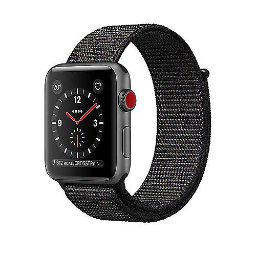 Apple Watch Series 3 LTE 42mm Aluminiumgehäuse Space Grau Sport Loop Schwarz