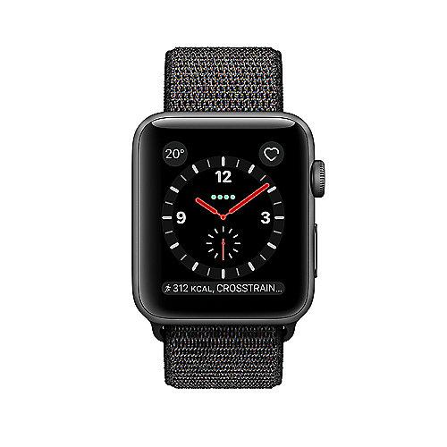 Apple Watch Series 3 LTE 38mm Aluminiumgehäuse Space Grau Sport Loop Schwarz