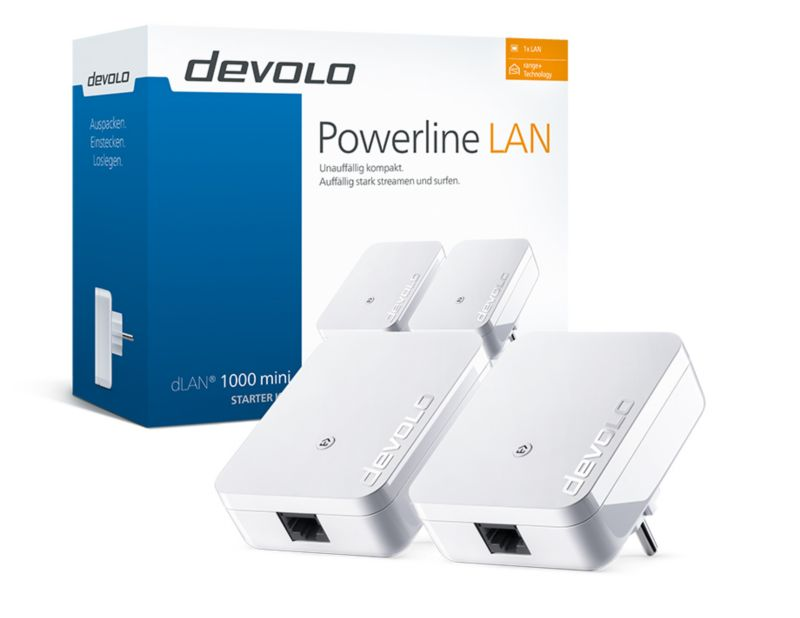 devolo dLAN 1000 mini Starter Kit (1000Mbit, 2er Kit, Powerline, range+, 1xLAN)