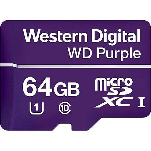 WD Purple 64 GB microSDXC Speicherkarte (50 MB/s, Class 10, U1) | 0718037863535