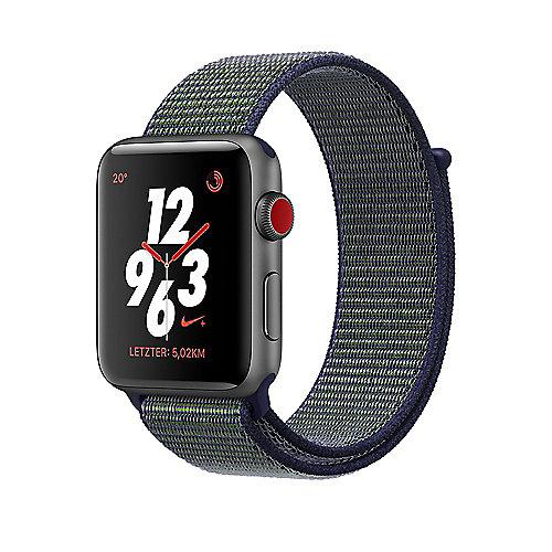 Apple Watch Nike LTE 38mm Aluminiumgehäuse Grau Nike Sport Loop Midnight Fog