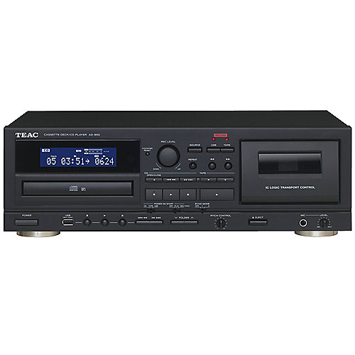 TEAC AD-850 Kassette /CD-Player System mit USB-Recording schwarz