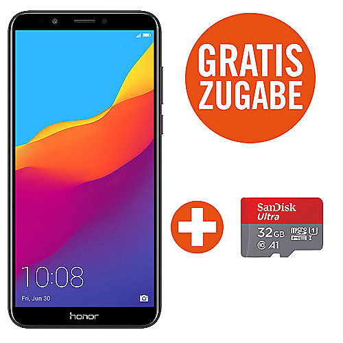 Honor 7C blue Dual-SIM Android 8.0 Smartphone + SanDisk Ultra 32 GB microSDHC