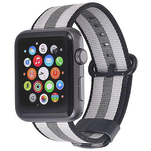 StilGut Nylon Armband für Apple Watch Serie 1 4 42mm schwarz grau
