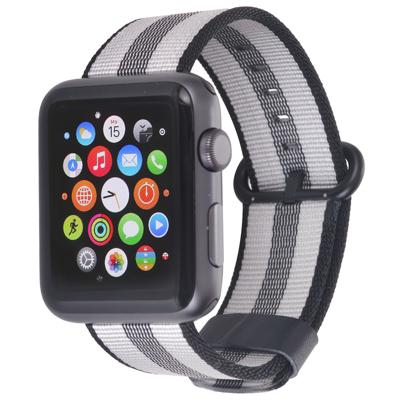Stilgut  Nylon Armband für Apple Watch Serie 1-4 42mm schwarz/grau | 4260272073744