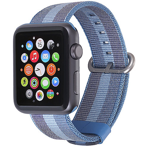StilGut Nylon Armband für Apple Watch Serie 1 4 42mm blau