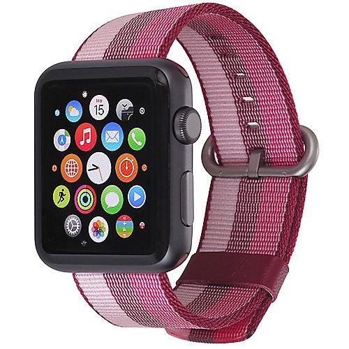 StilGut Nylon Armband für Apple Watch Serie 1 4 42mm cherry