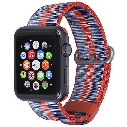 StilGut Nylon Armband für Apple Watch Serie 1 4 42mm orange blau