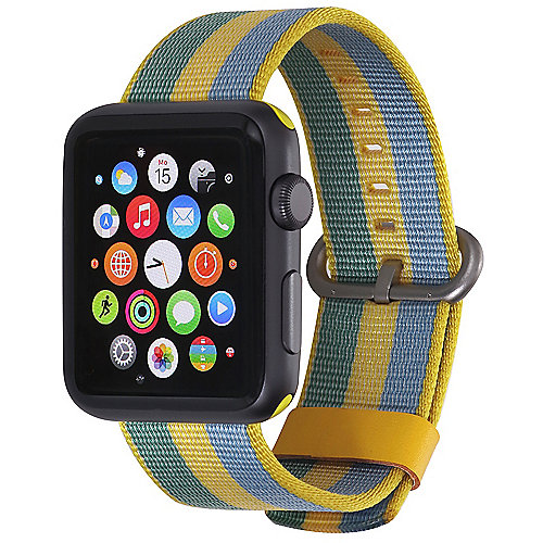 StilGut Nylon Armband für Apple Watch Serie 1 4 42mm gelb blau
