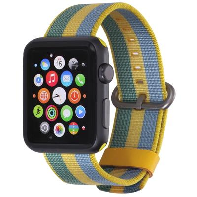 Stilgut  Nylon Armband für Apple Watch Serie 1-4 42mm gelb/blau   4260272073737
