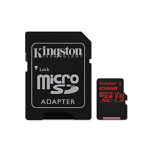 Kingston Canvas React 256 GB microSDXC Speicherkarte Kit (80 MB/s, A1, V30)