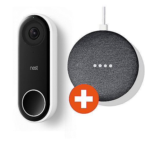 Nest Hello Videotürklingel + Google Home Mini Karbon