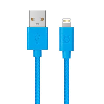 Xqisit  Charge and Sync Cotton Lightning/USB-Kabel 1,8m blau | 4029948015798