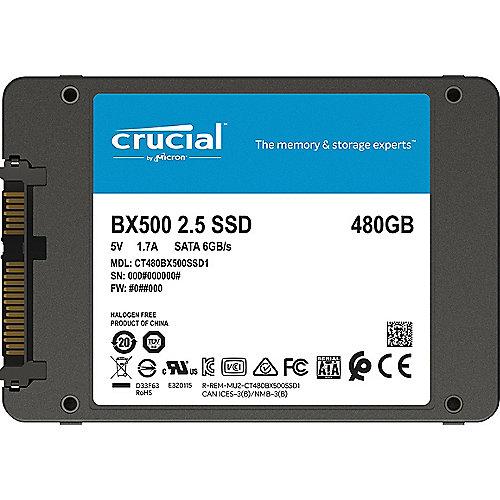 BX500 SSD 480GB 2.5zoll Micron 3D NAND SATA600 – 7mm | 0649528787330