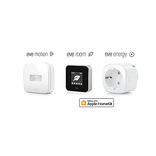 Apple HomeKit Raumklimabundel mit Eve Room & Eve Motion & Eve Energy EU