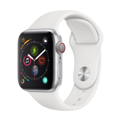 Apple Watch Series 4 LTE 40mm Aluminiumgehäuse Silber mit Sportarmband Weiß auf Rechnung bestellen
