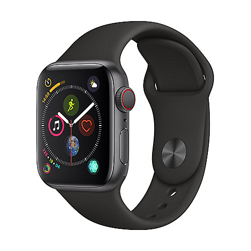 Apple Watch Series 4 LTE 40mm Aluminiumgehäuse Space Grau Sportarmband Schwarz