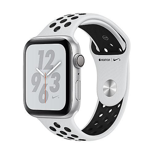 Apple Watch Nike GPS 44mm Aluminiumgehäuse Silber Sportarmband Platinum Schwarz