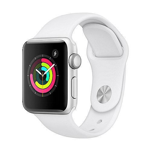 Apple Watch Series 3 GPS 38mm Aluminiumgehäuse Silber mit Sportarmband Weiß