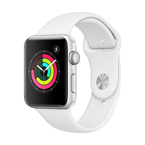 Apple Watch Series 3 GPS 42mm Aluminiumgehäuse Silber mit Sportarmband Weiß