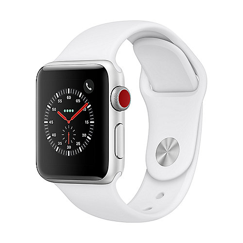 Apple Watch Series 3 LTE 38mm Aluminiumgehäuse Silber mit Sportarmband Weiß