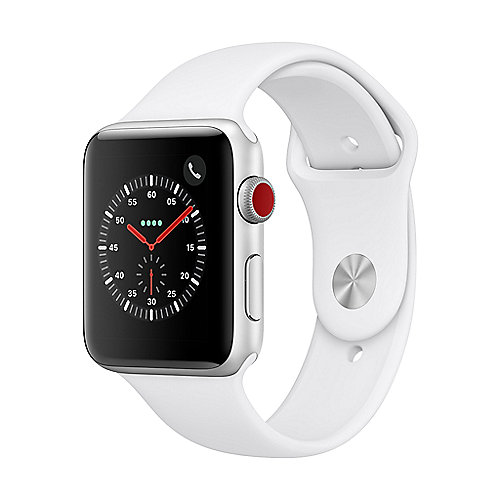 Apple Watch Series 3 LTE 42mm Aluminiumgehäuse Silber mit Sportarmband Weiß