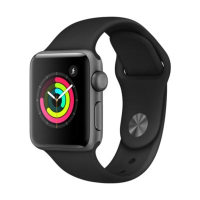Apple Watch Series 3 GPS 38mm Aluminiumgehäuse Space Grau Sportarmband Schwarz auf Rechnung bestellen