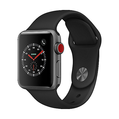 Apple Watch Series 3 LTE 38mm Aluminiumgehäuse Space Grau Sportarmband Schwarz