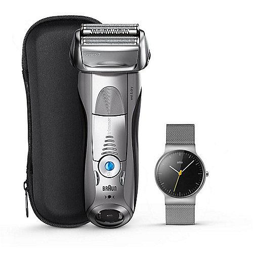 Braun Series 7 – 7893s Rasierer wet and dry silber + Braun Slim Watch Armbanduhr | 4210201208525