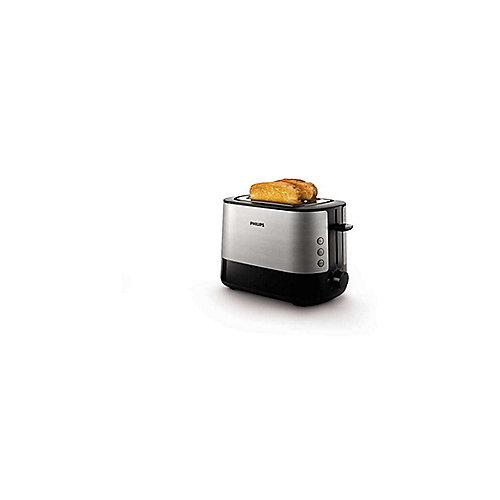 HD2637/90 2-Schlitz-Toaster Edelstahl/schwarz Brötchenaufsatz | 8710103777113