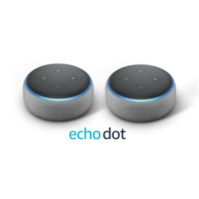 Amazon  Echo Dot (3. Generation) – Doppelpack – Hellgrau Stoff | 0841667168036