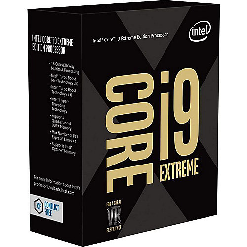 Intel Core i9-9980K Extreme 18x3,0 (Boost 4,4) GHz 24 MB Cache Sockel 2066