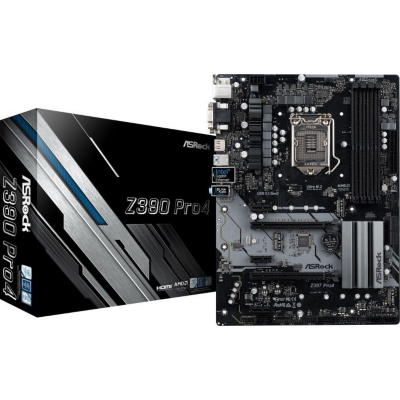 ASRock  Z390 Pro4 ATX Mainboard Sockel 1151 2xM.2/DVI/HDMI/VGA/USB3.1(A+C) | 4717677336733