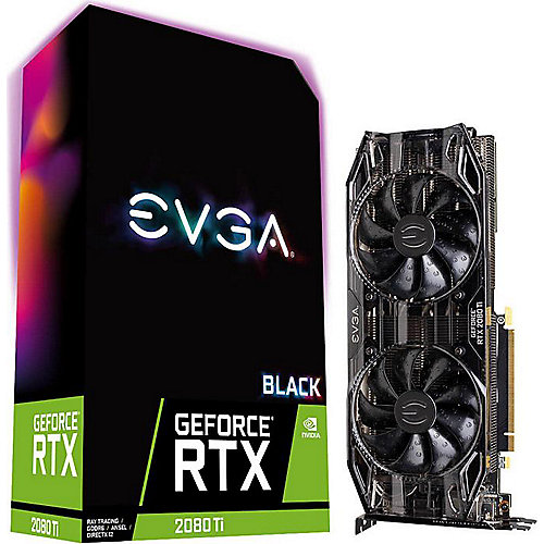 EVGA GeForce RTX 2080Ti Black Gaming 11GB GDDR6 Grafikkarte 3xDP/HDMI/USB-C