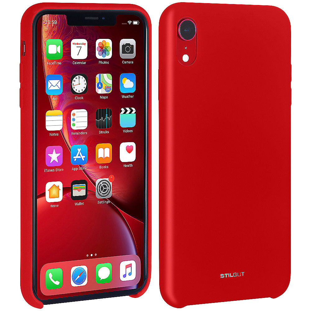 StilGut Liquid Silicon Case für Apple iPhone XR rot