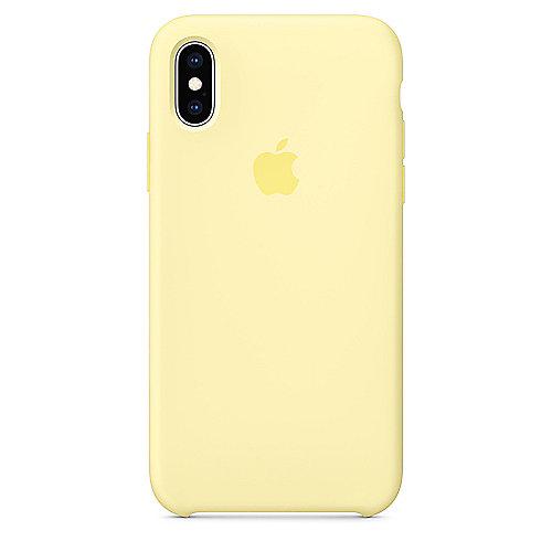 Apple Original iPhone XS Silikon Case Samtgelb auf Rechnung bestellen